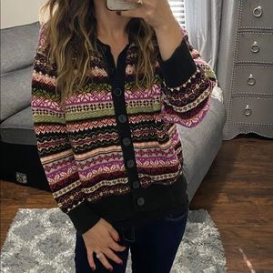 Cardigan sweater knit colorful XL